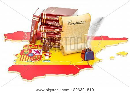 Constitution Of Spain Concept, 3d Rendering Isolated On White Background
