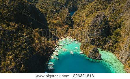 Tropical Lagoon With Azure Water, Beach By The Kayangan Lake, Philippines. Aerial View Coron Island,