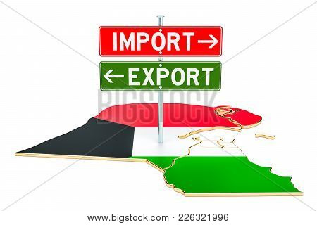 Import And Export In Kuwait Concept, 3d Rendering Isolated On White Background