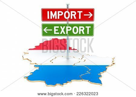 Import And Export In Luxembourg Concept, 3d Rendering Isolated On White Background