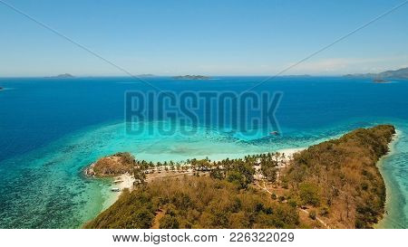 Aerial View Of Tropical Beach On The Island Malcapuya, Palawan, Philippines. Beautiful Tropical Isla