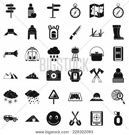 Alpinism Icons Set. Simple Set Of 36 Alpinism Vector Icons For Web Isolated On White Background