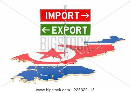Import And Export In North Korea Concept, 3d Rendering Isolated On White Background