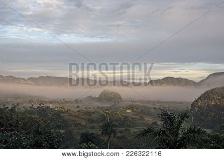 Vinales Valley In Cuba An Early Morning, With Morning Mist