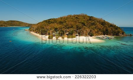Aerial View Of Tropical Beach On The Island Banana, Philippines. Beautiful Tropical Island With Sand