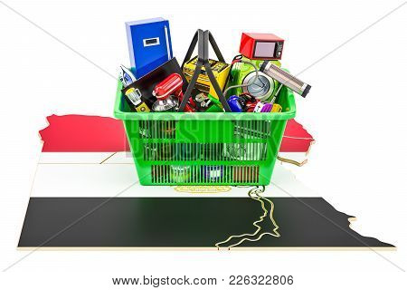 Map Of Egypt With Shopping Basket Full Of Home And Kitchen Appliances, 3d Rendering