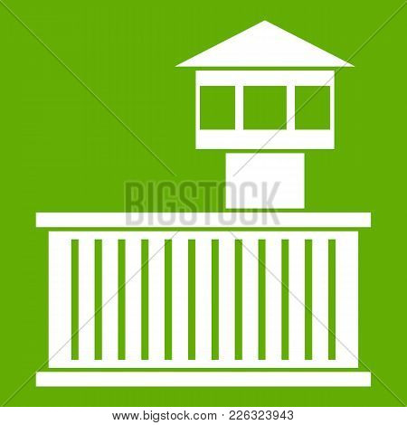Prison Tower Icon White Isolated On Green Background. Vector Illustration