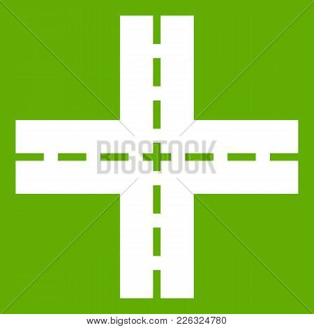 Crossing Road Icon White Isolated On Green Background. Vector Illustration