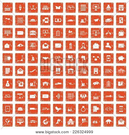100 Postal Service Icons Set In Grunge Style Orange Color Isolated On White Background Vector Illust