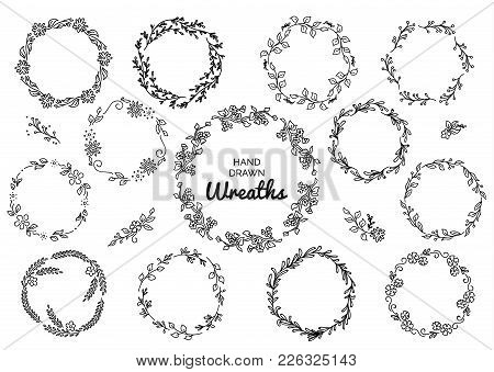 Vintage Set Of Hand Drawn Rustic Wreaths. Floral Vector Graphic On White Board. Nature Design Elemen