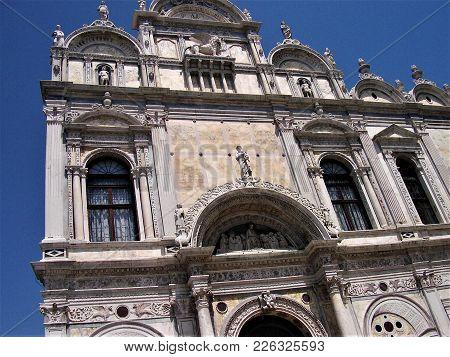 Facade Of The Scuola Grande Di San Marco In Venice, Italy
