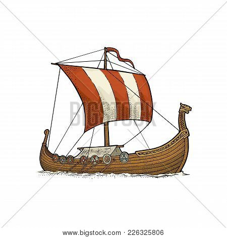 Drakkar Floating On The Sea Waves. Hand Drawn Design Element Sailing Ship. Vintage Vector Color Engr