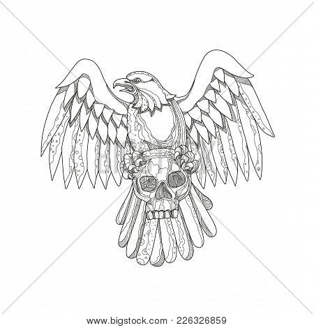 Doodle Art Illustration Of An American Bald Eagle Clutching A Skull With Wings Spread Out Viewed Fro