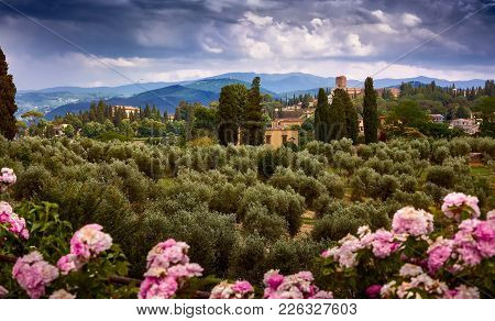 Florence, Italy - May 19, 2017: Beautiful View Of The Tuscany Fields From The Top Of The Garden Of K