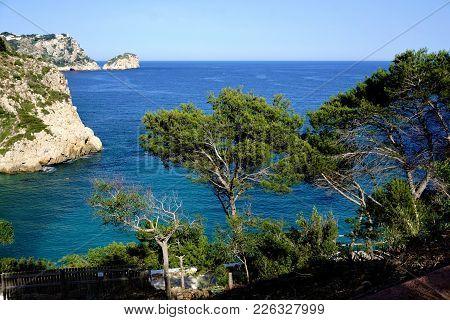 Trees And Rocks At Cala Granadella, Spain
