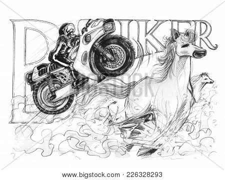 Big Bike Ski Jump With Hourse Running Very Fast To Chaotically Has Dust, Acting Pencil Stroke And Bi