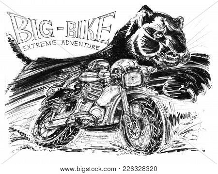 Biker Riding Big Bike And Black Tiger Or Panther Running Very Fast To Chaotically Is Background, Act
