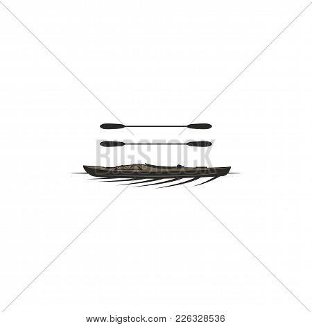 Kayak And Paddles Symbols. Silhouette Style Symbol. Black Pictogram Of Kayaking, Rafting Equipment.