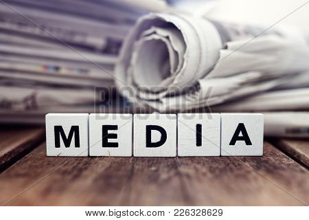 Media and newspaper headlines concept for news, journalism, press or newsletter