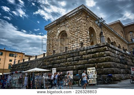 Florence, Italy - May 19, 2017: Architectural Details Of The Facade Of The Pitti Palace With Beautif
