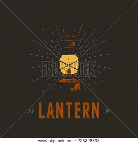 Vintage Hand Drawn Lantern Poster Concept. Perfect For Logo Design, Badge, Camping Labels. Retro Col
