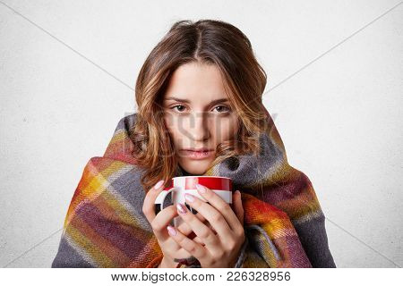 Winter Cold Sickness Concept. Freezing Beautiful Woman Wrapped In Warm Checkered Plaid Blanket, Drin