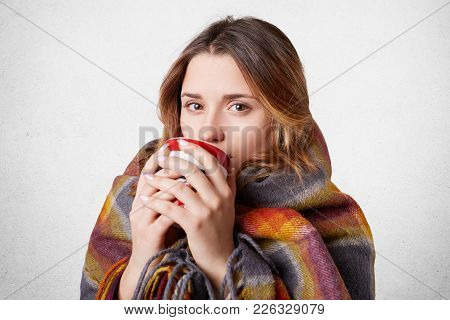Young Woman Caught Cold, Warms With Woolen Plaid And Hot Beverage, Spends Time At Home Alone, Enjoys
