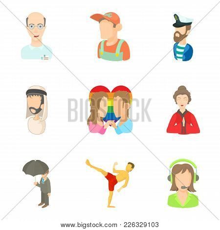 Some People Icons Set. Cartoon Set Of 9 Some People Vector Icons For Web Isolated On White Backgroun