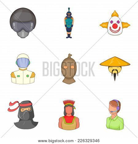 Certain People Icons Set. Cartoon Set Of 9 Certain People Vector Icons For Web Isolated On White Bac