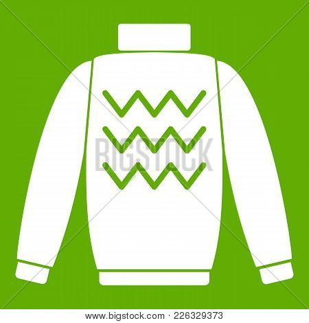 Pullover Icon White Isolated On Green Background. Vector Illustration