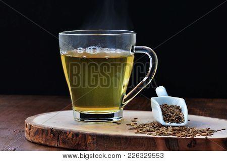 Cumin Seed Tea, Jeera Water For Weight Loss In Glass Mug