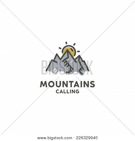 Mountains Are Calling Flat Concept. Cute Line Art Style. Adventure Line Art Logo Template. Mountain