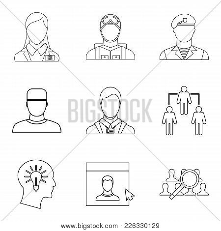 Personage Icons Set. Outline Set Of 9 Personage Vector Icons For Web Isolated On White Background