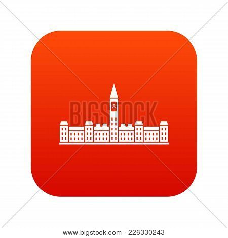 Parliament Building Of Canada Icon Digital Red For Any Design Isolated On White Vector Illustration