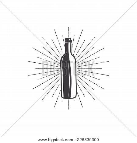 Black Wine Bottle With Sunbursts For Vineyard Logo, Winery Badge, Wine Club, Bar, Cafe Or Restaurant