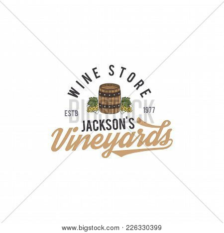 Wine Shop Logo, Label. Organic Wines.vineyard Badge. Retro Drink Symbol - Wine Barrel, Vines. Typogr