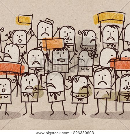 Cartoon Unhappy Group of People