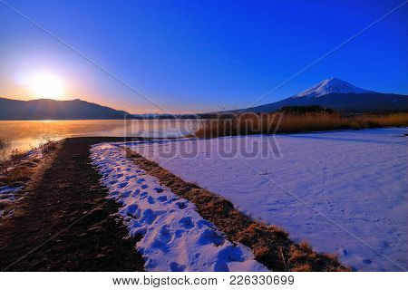 Mount Fuji Of Sunrise Snow Scene From Lakeside