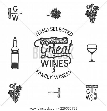 Wine, Winery Logo And Icons, Elements. Drink, Alcoholic Beverage Symbol, Monogram. Wine Bottle, Glas