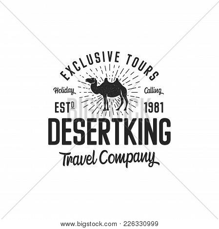 Camel Logo Template Concept. Travel Company Logotype. Desert King Text Quote. Exclusive Tours Vacati