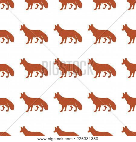 Red Fox Pattern. Seamless Background Illustration With Wild Animal Symbols, Elements. Monochrome Sil