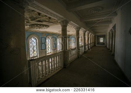 Inside Of Old Creepy Abandoned Mansion. Former Sanatorium Gagripsh, Gagra, Abkhazia.