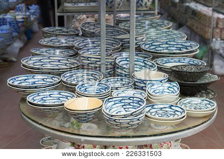 Hanoi, Vietnam - Jan 25, 2015: Pottery Products On A Shop In Bat Trang Ancient Ceramic Village. Bat