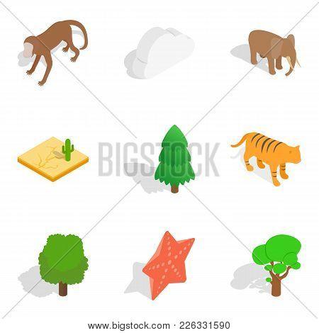 Zoological garden icons set. Isometric set of 9 zoological garden vector icons for web isolated on white background poster