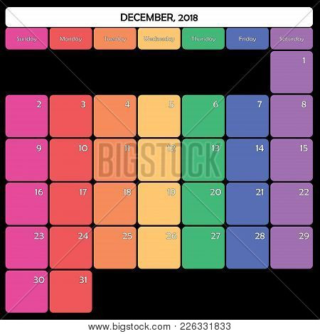 December 2018 Planner Calendar Big Editable Space Color Day