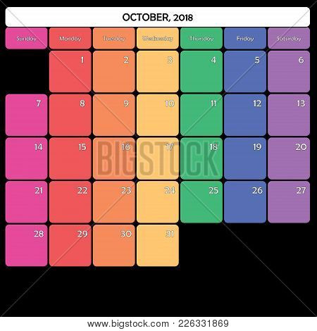 October 2018 Planner Calendar Big Editable Space Color Day