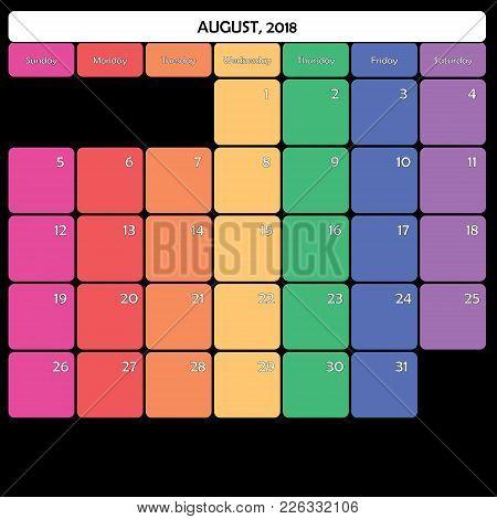 August 2018 Planner Calendar Big Editable Space Color Day
