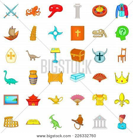 Ancient World Icons Set. Cartoon Set Of 36 Ancient World Vector Icons For Web Isolated On White Back