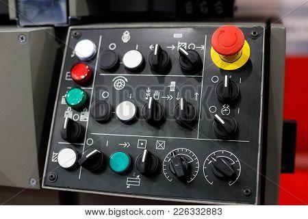 Control Panel Of Metalworking Machine. Selective Focus.