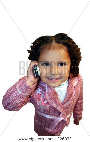 Little Girl In Tailored Suit On Cellphone